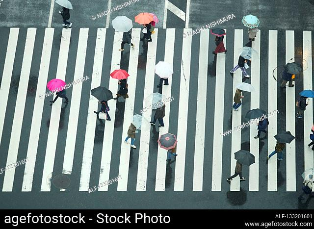 People Crossing A Crossroad On A Rainy Day In Tokyo, Japan