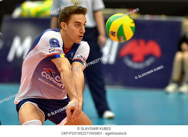 Lorenzo Benvenuti (Modena) in action during the 6th round group B of volleyball Champions League match Karlovarsko vs Modena in Karlovy Vary, Czech Republic