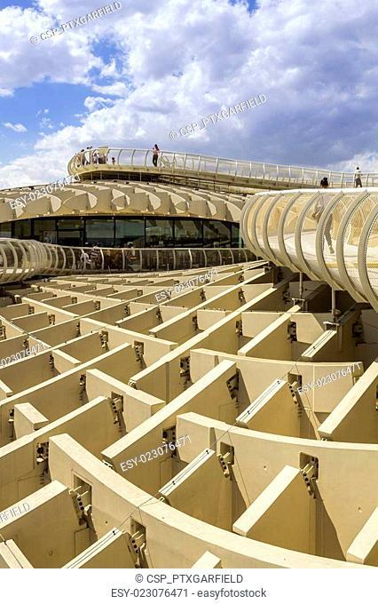 Panoramic view in the top of Metropol Parasol in Plaza de la Encarnacion on 31 of May 2014 in Sevilla,Spain
