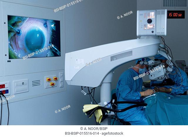 Reportage in the ophthalmology service in Pasteur 2 Hospital, Nice, France. In the operating theatre, treatment of a retinal detachment through vitrectomy