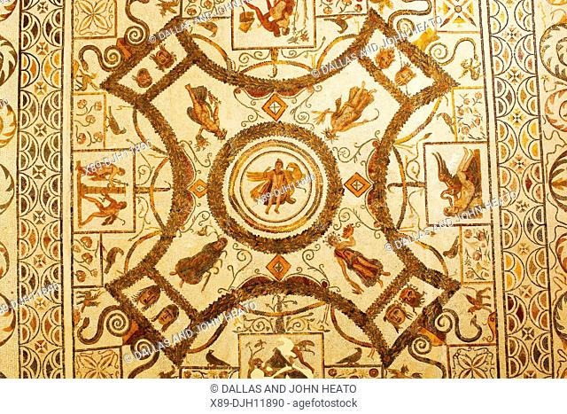 Africa, Tunisia, Ancient Thysdrus, El Djem Museum, Roman Mosaic, Section of the Rape of Ganymede Mosaic