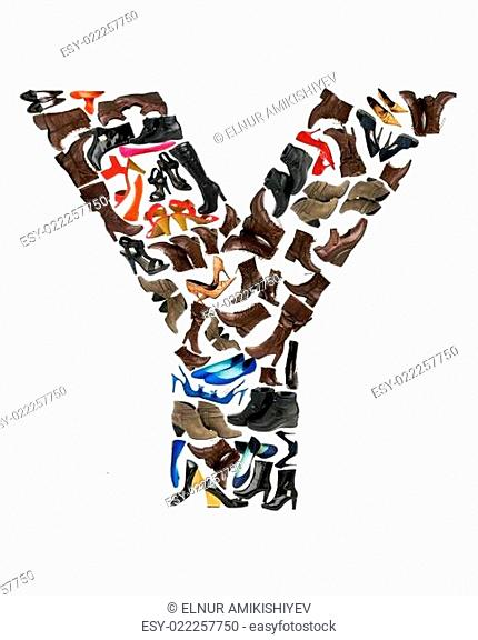 Font made of hundreds of shoes - Letter Y