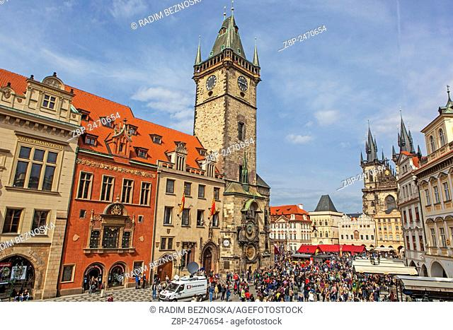 Old Town Hall and Tyn Cathedral, Prague, Czech Republic, Europe