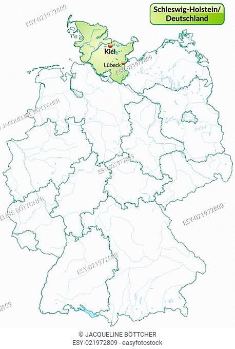 Karte von Schleswig-Holstein mit Hauptstädten in Pastellgrün