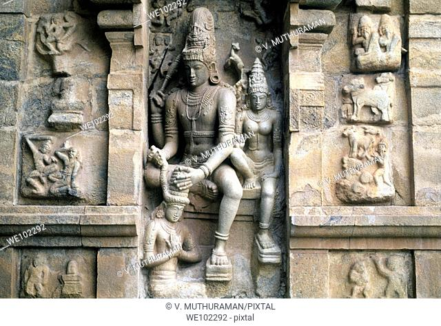 Sculpture on the exterior wall of the11th century Shiva temple at Gangaikondacholapuram, Tamil Nadu, India  Gangaikondacholapuram was established as a capital...