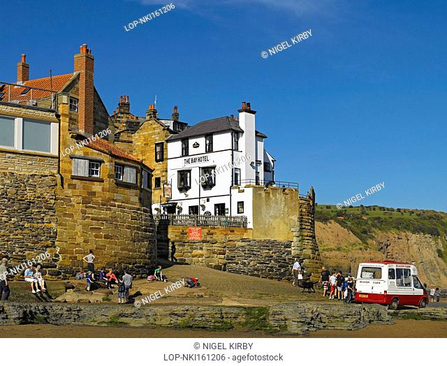 England, North Yorkshire, Robin Hoods Bay. Ice cream van on the slipway in the fishing village of Robin Hoods Bay