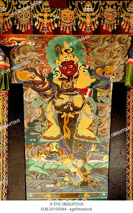 Art in the architecture of a Buddhist Monastery. Detail of wall paintings
