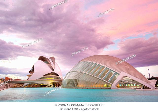 Valencia, Spain - Jan 18; 2016: The city of the Arts and Sciences designed by architect Santiago Calatrava on January 18th, 2016 in Valencia, Spain