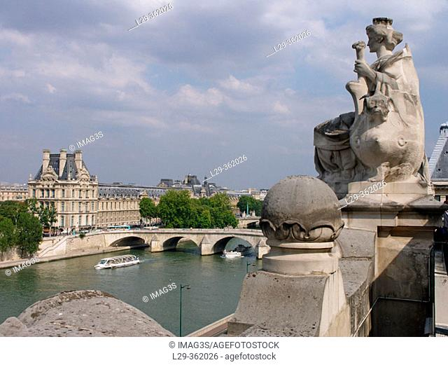 View of Louvre Museum from Orsay Museum. Paris, France