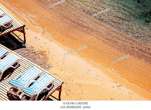 Sun loungers on the beach, Antalya, Turkey