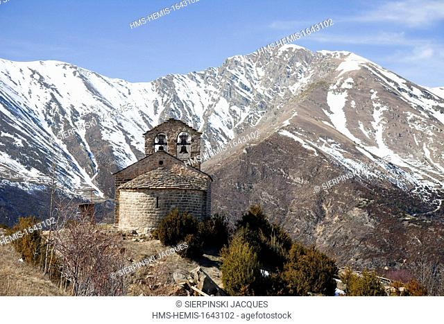 Spain, Catalonia, Boi valley, listed as World Heritage by UNESCO, Sant Quirc de Durro church