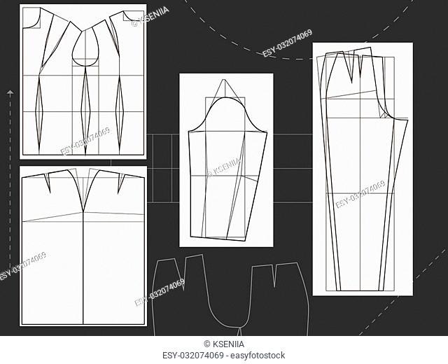 vector illustration clothing design skirt pants shirt sleeve for clothing designer work