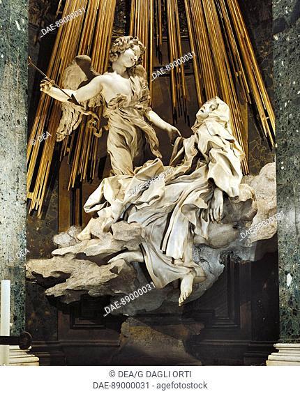 The Ecstasy of St Teresa of Avila, 1647-1652, by Gian Lorenzo Bernini (1598-1680). Church of Santa Maria della Vittoria in Rome, Lazio