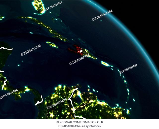 Haiti from orbit of planet Earth at night with visible borderlines and city lights. 3D illustration. Elements of this image furnished by NASA