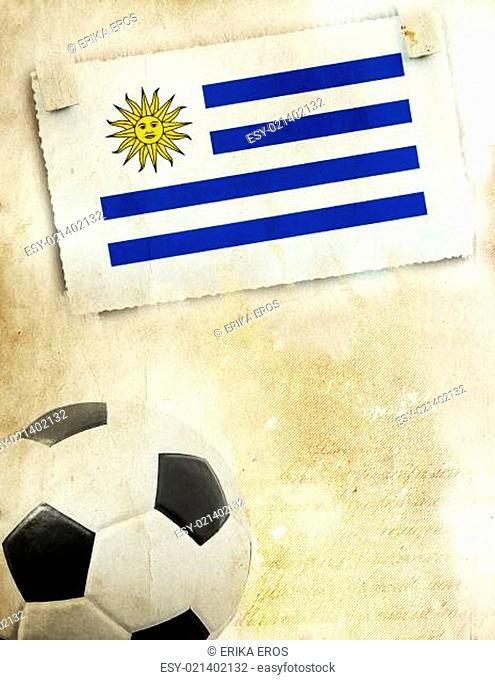 Photo of Uruguay flag and soccer ball