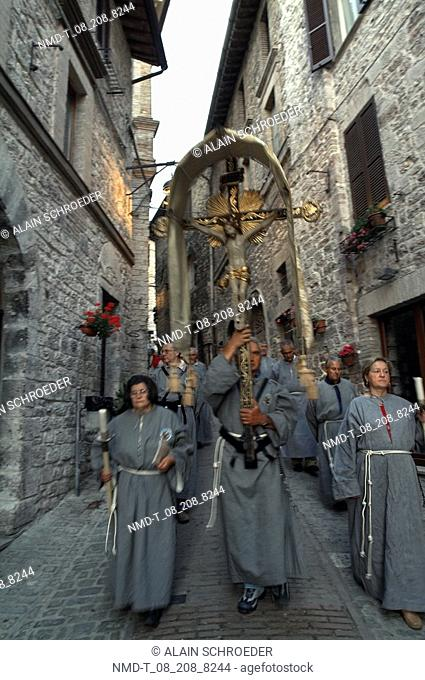 Group of priests at a procession, Assisi, Umbria, Italy
