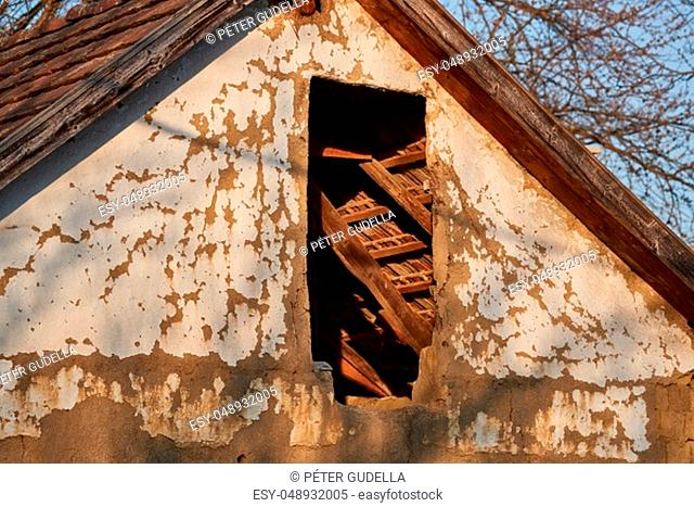 Attic of an abbandoned house in a poor rural region