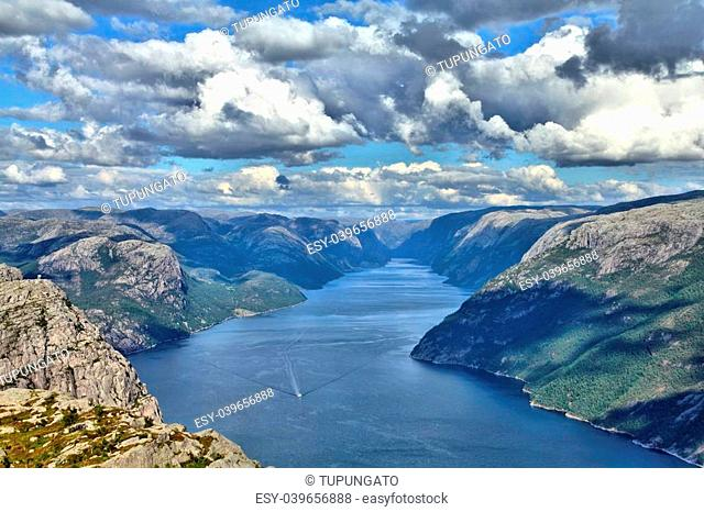 Norway, Rogaland county. Beautiful view of Lysefjorden from the trail to Preikestolen. HDR image