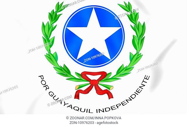 Guayaquil coat of arms, Ecuador. 3D Illustration