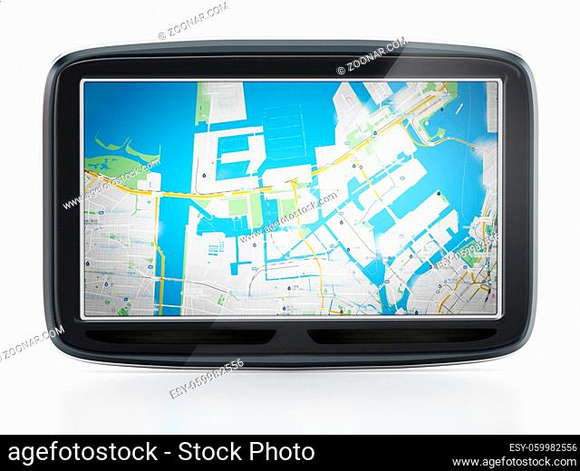 GPS Global Positioning System isolated on white background. 3D illustration