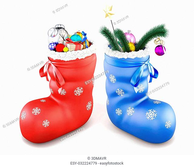 Two Christmas boot with gifts on a white background. 3d illustration