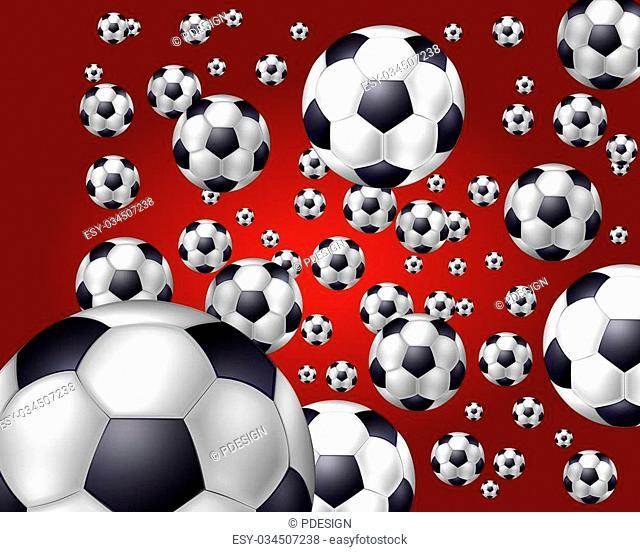 soccer balls background red