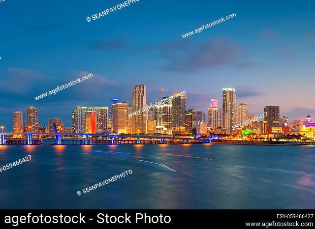 Miami, Florida, USA downtown city skyline on Biscayne Bay at twilight