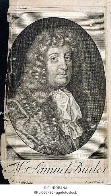 Samuel Butler 1612-1680. English satiriSt Portrait. Image taken from Posthumous Works in Prose and Verse Mainly spurious