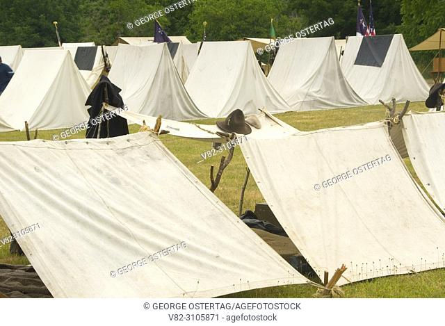 Union camp with shebang, Civil War Re-enactment, Willamette Mission State Park, Oregon