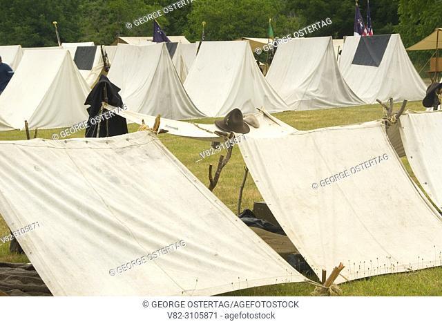 Union camp with shebang, Civil War Re-enactment, Willamette Mission State Park, Oregon