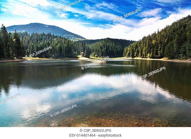 Beautiful mountain lake in Carpathians, Landscape Sinevir