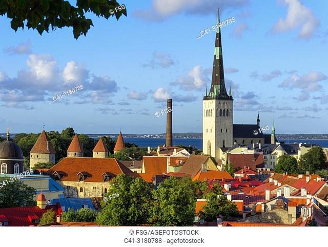 Church of Saint Olaf and Old town. Tallinn. Estonia