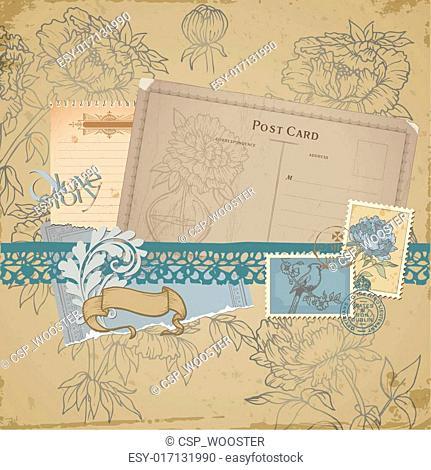 Scrapbook design elements - Vintage Bird and Peony Set - in vector