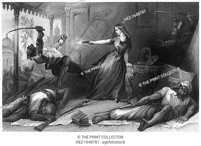 'Miss Wheeler defending herself against the Sepoys at Cawnpore', 1857, (c1860). Massacre of British civilians in what is now known as Kanpur, India