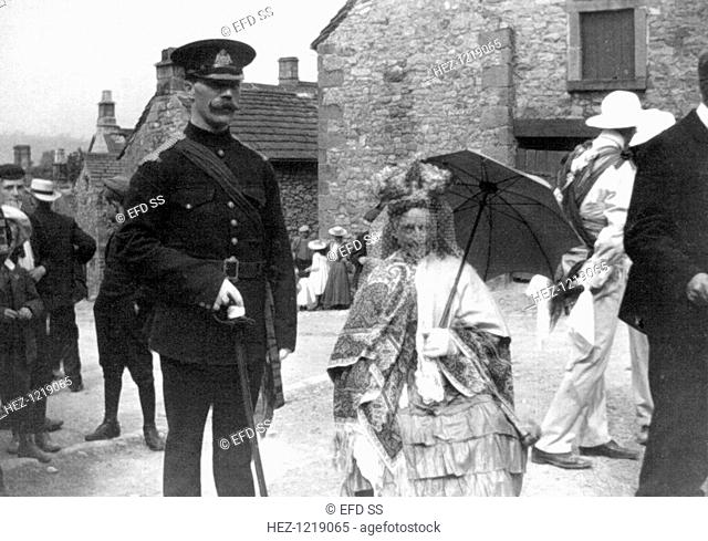 Morris Dance Queen, Winster, Derbyshire, c1908. Photograph taken during one of British musicologist Cecil Sharp's (1859-1924) expeditions to collect English...