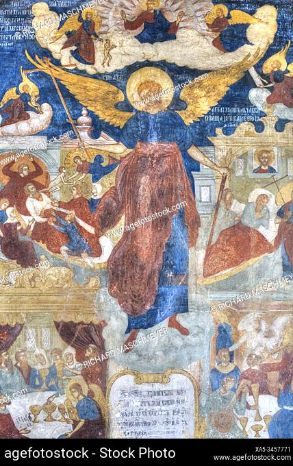 Frescoes, Church of St John the Baptist, UNESCO World Heritage Site, Yaroslavl, Golden Ring, Yaroslavl Oblast, Russia