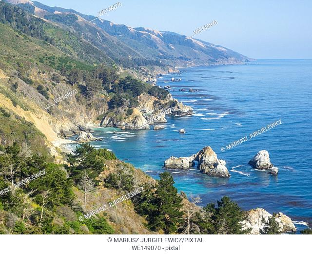 Big Sur is a sparsely populated region of the Central Coast of California where the Santa Lucia Mountains rise abruptly from the Pacific Ocean