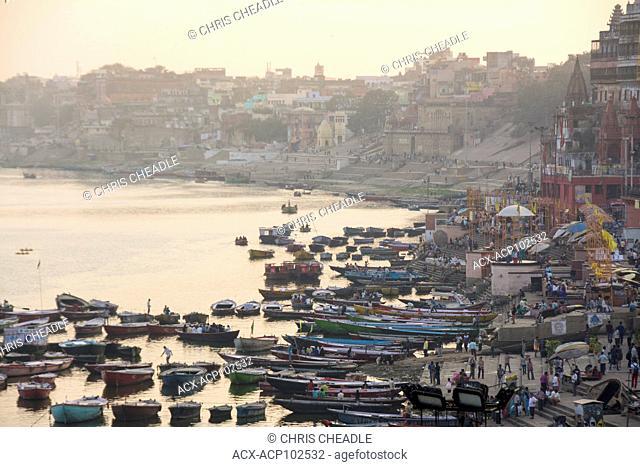 River Boats on the Ganges River, Varanasi, formerly Benares, Uttar Pradesh, India