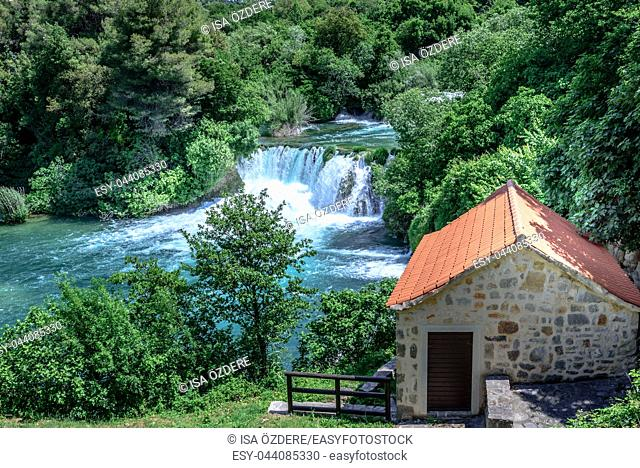 Panoramic Aerial View of waterfall in Krka National Park , one of the Croatian national parks in Sibenik, Croatia