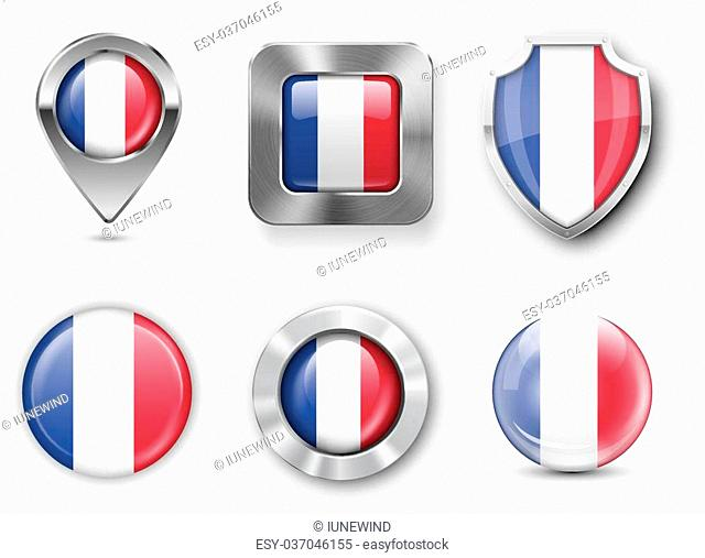 France Metal and Glass Flag Badges, Buttons, Map marker pin and Shields. Vector illustrations