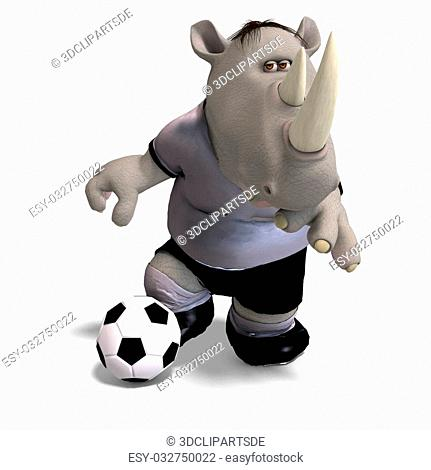 funny rhino plays soccer. With Clipping Path
