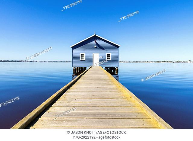 The iconic Crawley Edge Boatshed also known as the Blue Boat House on the Swan River in Matilda Bay, Crawley, Perth, Western Australia, Australia