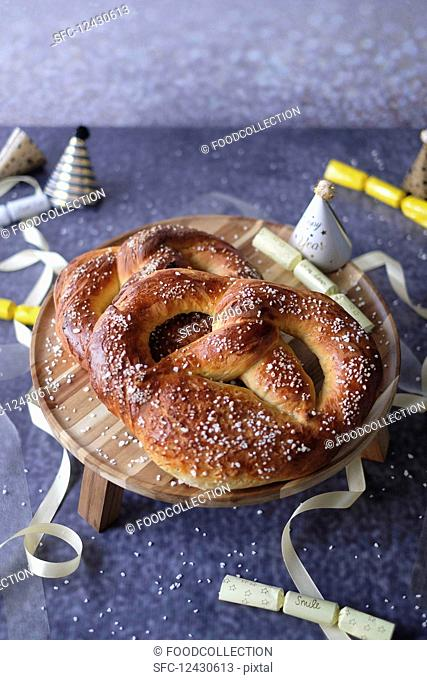 New Year's pretzels with party decorations