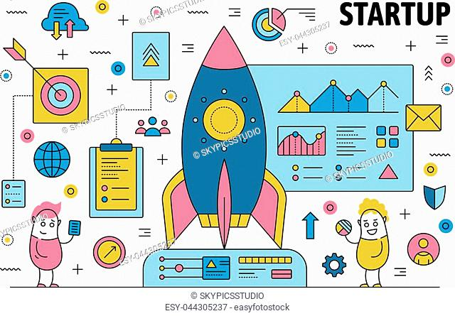 Business startup poster banner template. Vector thin line art flat style design with office workers cartoon characters, rocket launch, business symbols