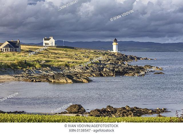 Sea coast with lighthouse, Port Charlotte, Islay, Inner Hebrides, Argyll, Scotland, UK