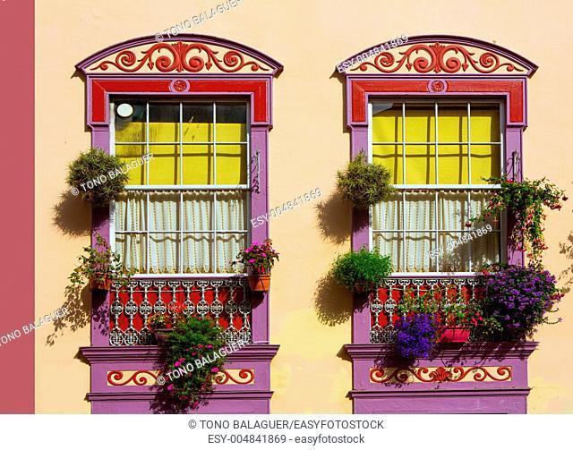Santa Cruz de La Palma colonial street house facades in canary Islands
