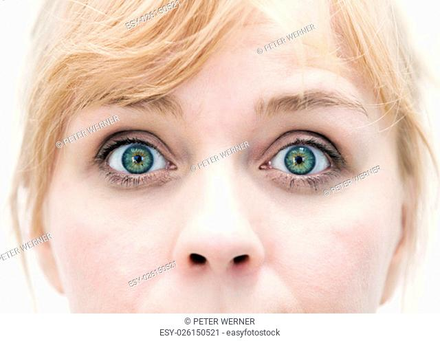 closeup of the eyes of blond woman