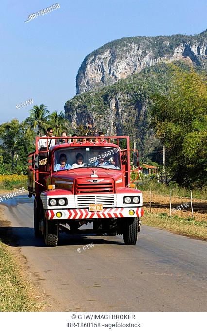 Truck on the road, Vinales Valley, Pinar del Rio Province, Cuba, Central America