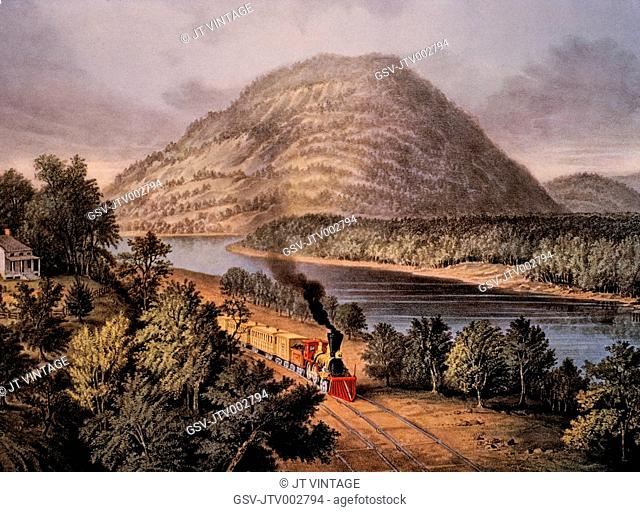 Lookout Mountain, Tennessee and Chattanooga Railroad, Lithograph, Currier & Ives, 1866