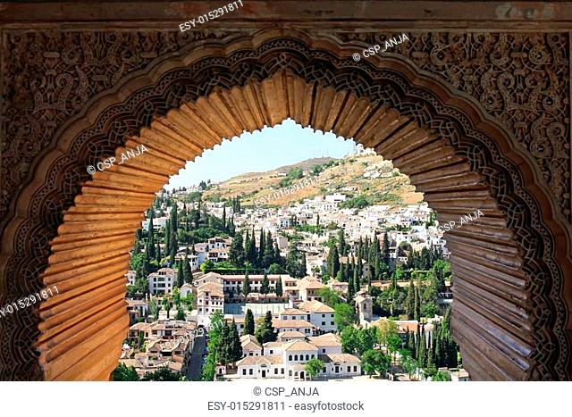 view of Albayzin from window with arabesque ornament